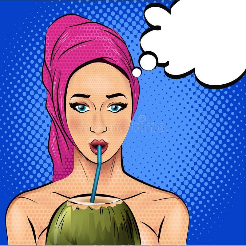 Schönheit im Saunatuch auf trinkendem Kokosnusshauptcocktail Pop-Arten-Artillustration lizenzfreie abbildung