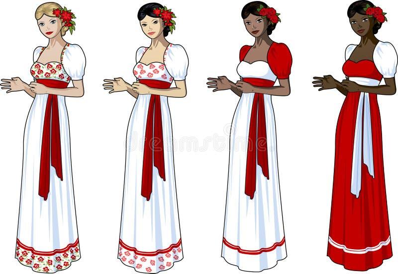 Schönheit im Slavichochzeitskleid vektor abbildung
