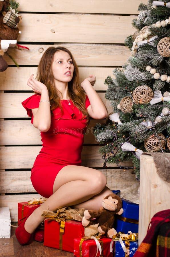 Schönheit im Weihnachtsinnenraum feiert glückliches auf dem Hintergrund lizenzfreies stockfoto