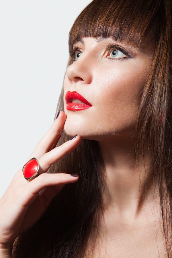 Schönheit mit Brown-Haar und den roten Lippen lizenzfreies stockbild
