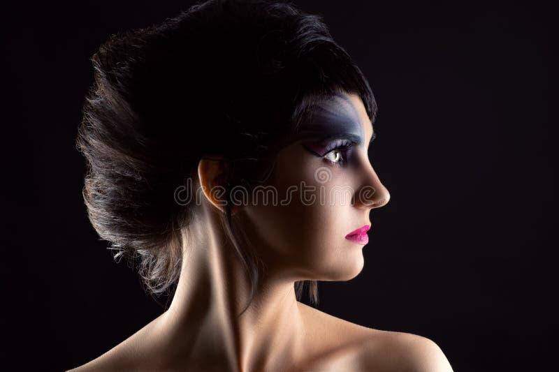 Schönheit mit dem luxuriösen Haar und Make-up, Porträt im Profilgesicht lizenzfreie stockfotografie