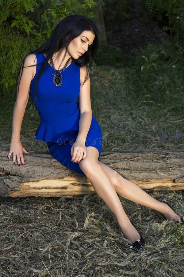 Schönheit mit dem schwarzen Haar im eleganten blauen Kleid lizenzfreies stockbild