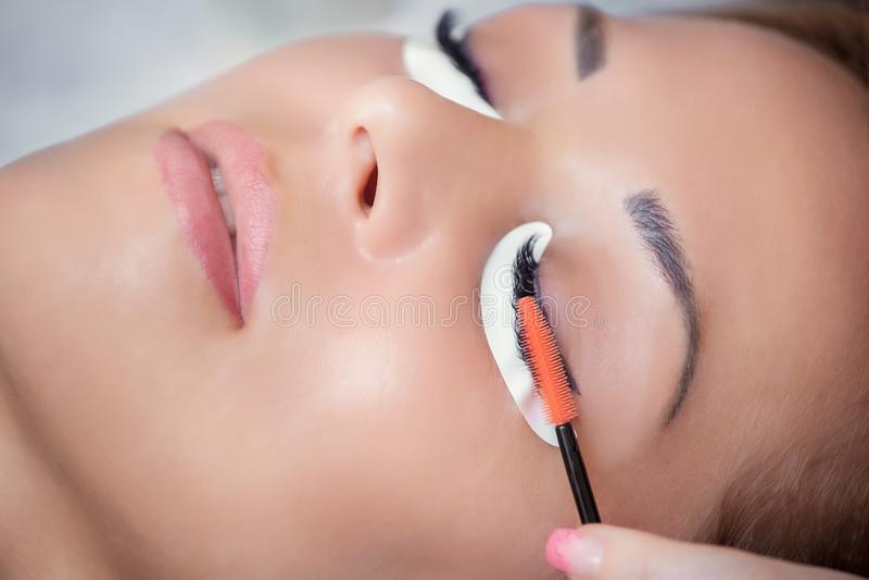 Schönheit mit den langen Wimpern in einem Schönheitssalon stockbilder