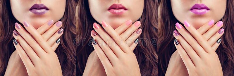 Schönheit mit perfektem Make-up und Maniküre Nageldesign Art und Weise Drei Schatten stockbild