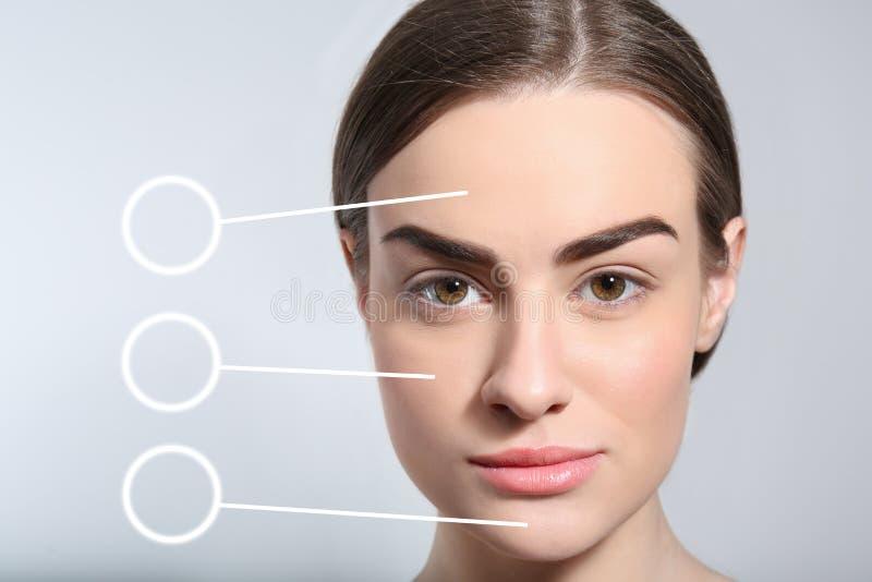 Schönheit mit perfekten Augenbrauen lizenzfreie stockbilder