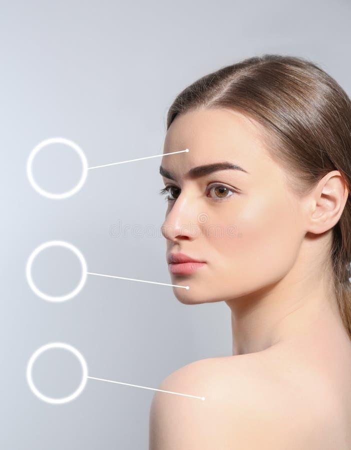 Schönheit mit perfekten Augenbrauen auf Licht lizenzfreie stockfotografie