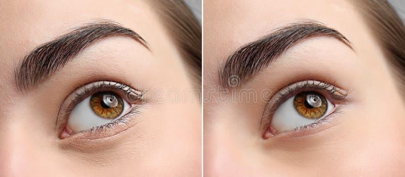 Schönheit mit perfekter Augenbraue stockbild