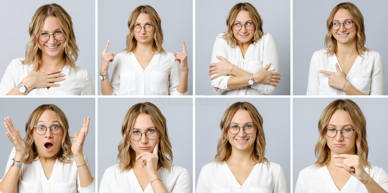 Schönheit mit verschiedenen Gesichtsausdrücken und Gesten lizenzfreies stockbild