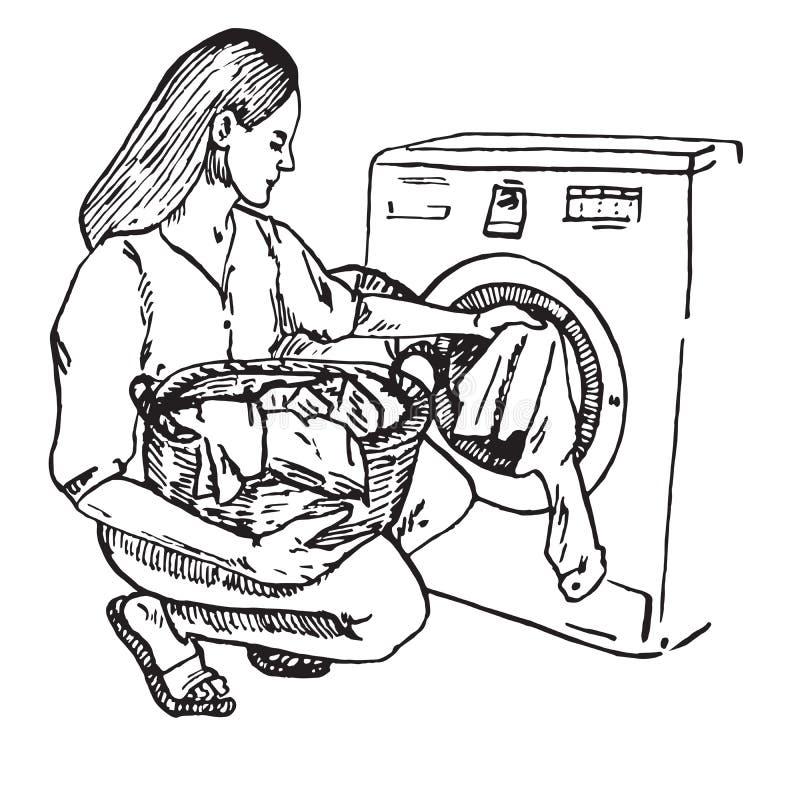 Schönheit setzte Kleidung vom Korb in Waschmaschine, tägliches Programm der Hausfrau ein vektor abbildung