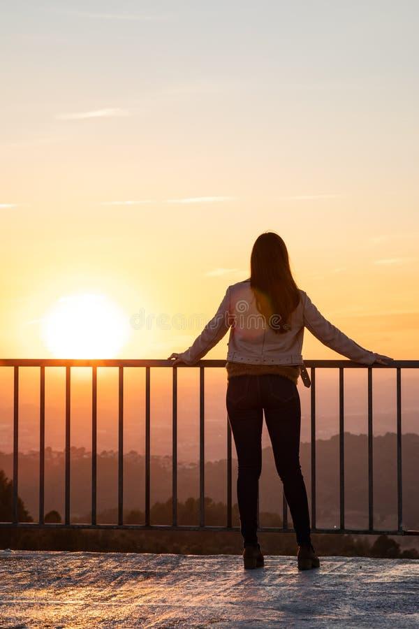 Schönheit zurück schoss auf einem Standpunktgeländer während des Sonnenuntergangs mit unscharfem Hintergrund stockbilder