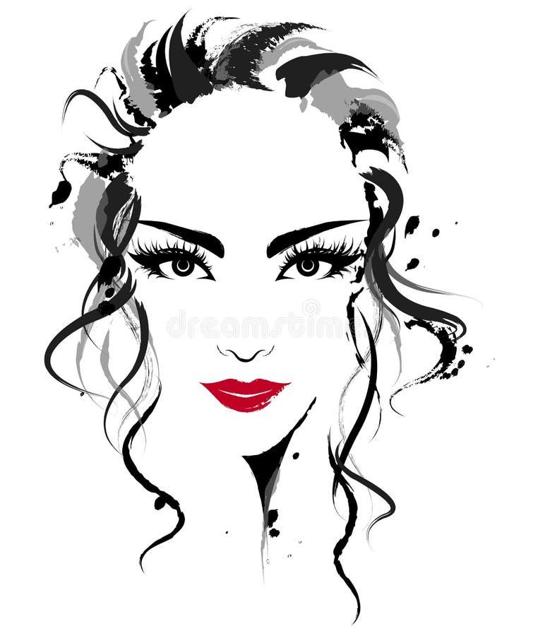 Schönheiten, Logofrauen stellen Make-up auf weißem Hintergrund, Vektor gegenüber lizenzfreie abbildung