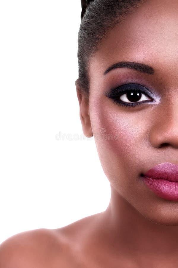 Schönheits-Frauen-halbes Gesicht lizenzfreie stockfotografie