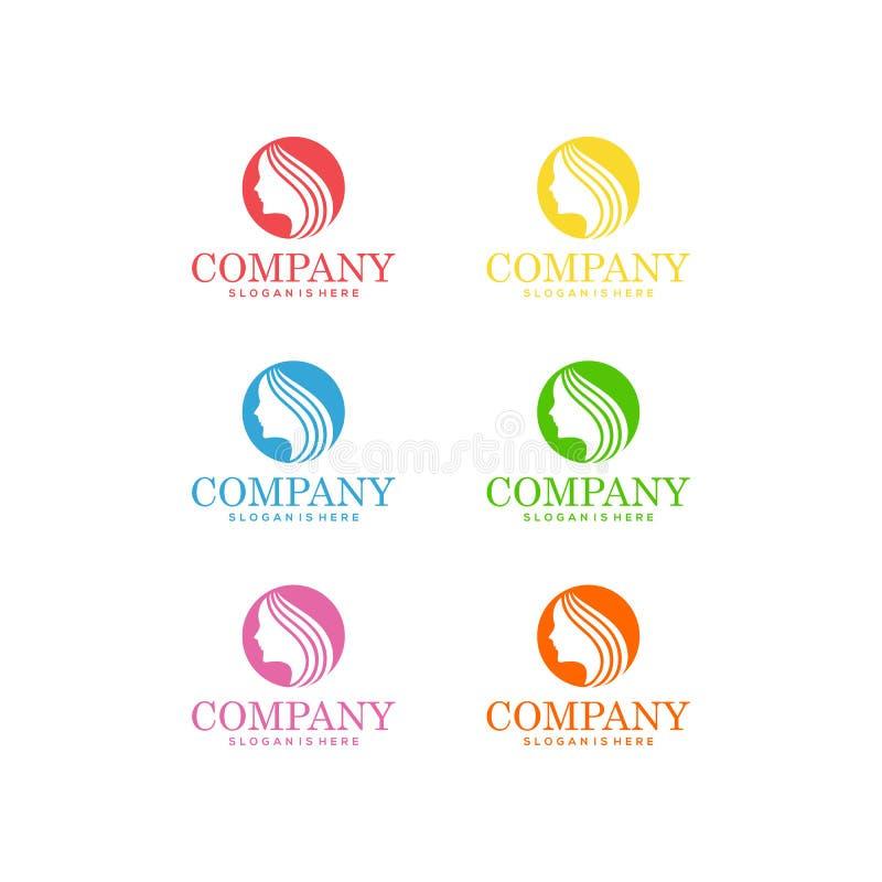 Schönheits-Haarpflege Logo Vector lizenzfreie abbildung