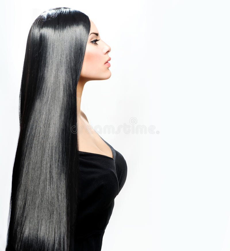 Schönheits-Mädchen mit dem langen schwarzen Haar lizenzfreie stockfotos