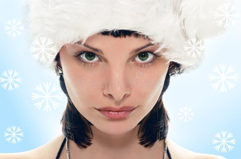 Schönheits-Mrs Weihnachtsmann stockfotografie