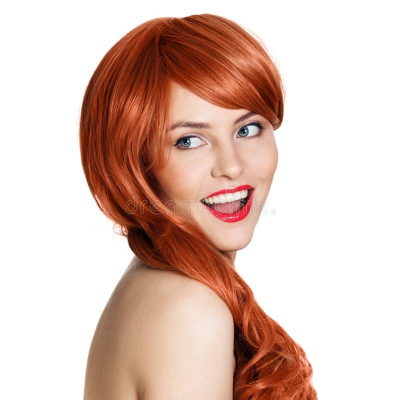 Download Schönheits-Portrait. Lockiges Haar. Weißer Hintergrund Stockfoto - Bild von weiblichkeit, lockig: 26373650