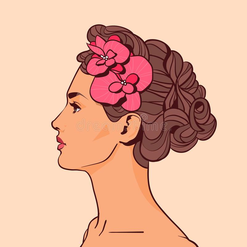 Schönheits-Profil mit Blumen im elegante Frisur-attraktiven Mädchen auf beige Hintergrund vektor abbildung