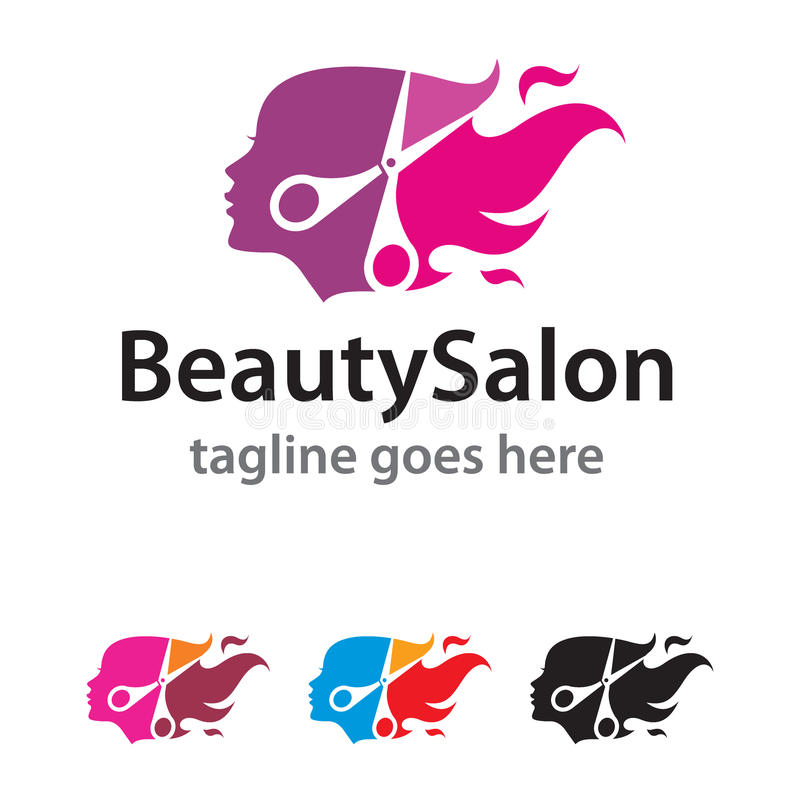 Schönheits-Salon Logo Template Design Vector lizenzfreie abbildung