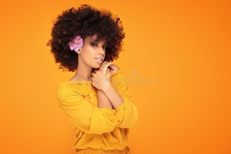 Schönheitsafrofrau mit frischen Blumen lizenzfreie stockbilder