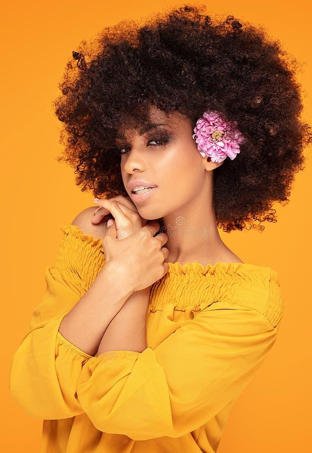 Schönheitsafrofrau mit frischen Blumen stockbilder