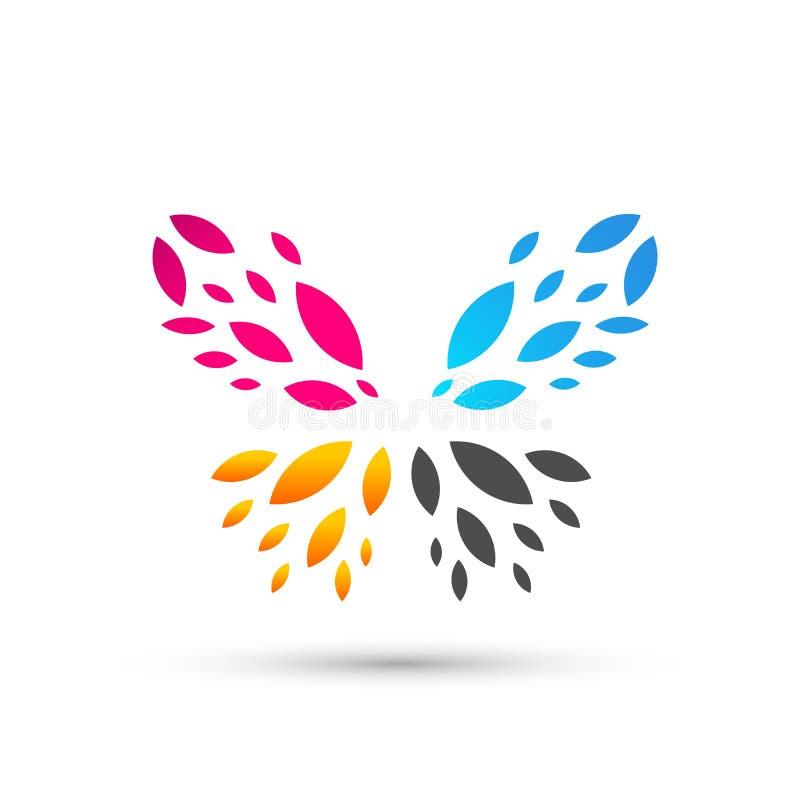 Schönheitsbadekurort-Lebensstilsorgfalt des Schmetterlinges entspannt sich bunte Yogazusammenfassungsflügel-Logoikone auf weißem  stock abbildung