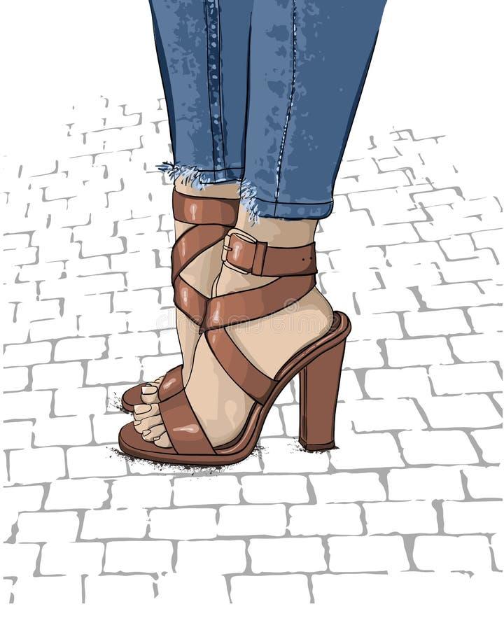 Schönheitsbeine in den modernen Schuhen des hohen Absatzes Hand gezeichnet stock abbildung