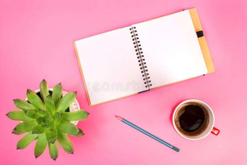 Schönheitsblog-Konzeptfoto Grünpflanze, Notizbuch, Stift und Tasse Kaffee auf rosa Hintergrund lizenzfreie stockbilder