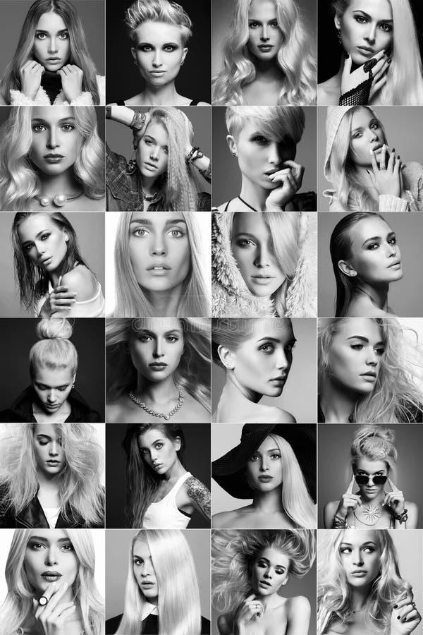 Schönheitsblondinencollage Gesichter von Frauen stockfoto