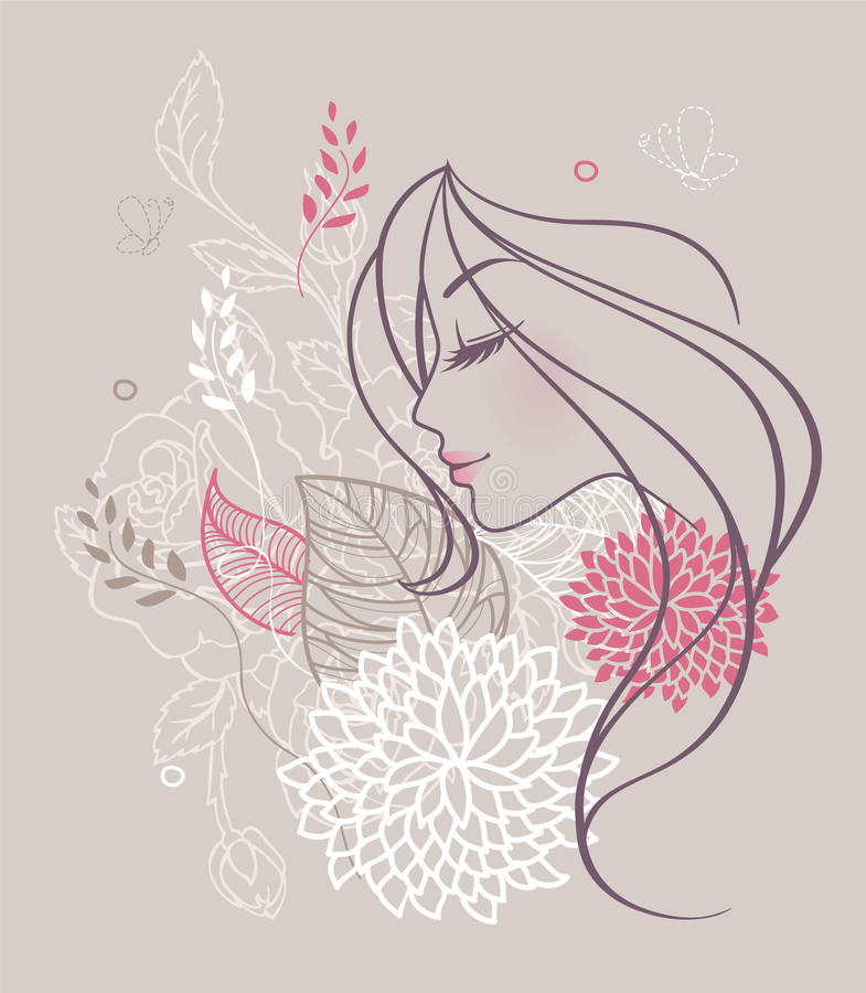 Schönheitsblumenfrau lizenzfreie stockfotografie