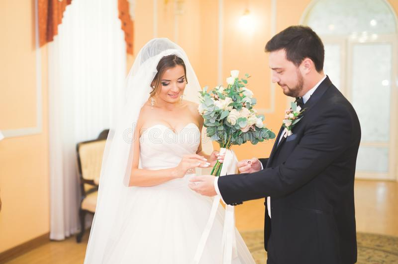 Schönheitsbraut und hübscher Bräutigam tragen sich schellt Hochzeitspaare auf der Trauung lizenzfreies stockfoto