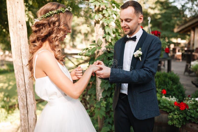 Schönheitsbraut und hübscher Bräutigam tragen sich schellt Hochzeitspaare auf der Trauung Schönes vorbildliches Mädchen im whi stockfotos