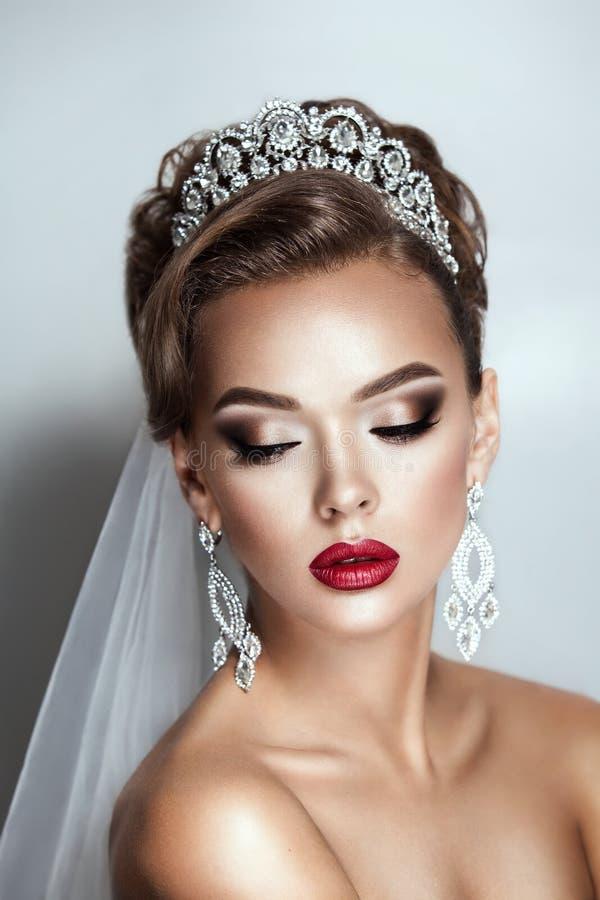 Schönheitsbrautfrauen-Hochzeitsporträt des dunklen Haares stockfotografie