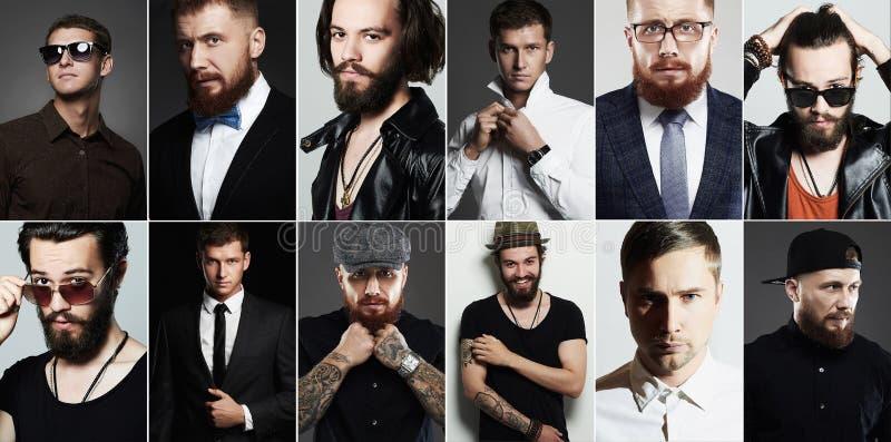 Schönheitscollage des wirklichen Mannes Männer ` s Gesichter lizenzfreie stockfotos