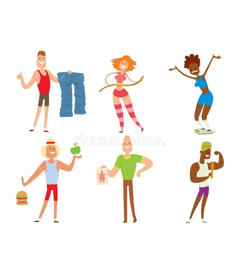 Schönheitseignungs-Leutegewichtsverlust vektor abbildung