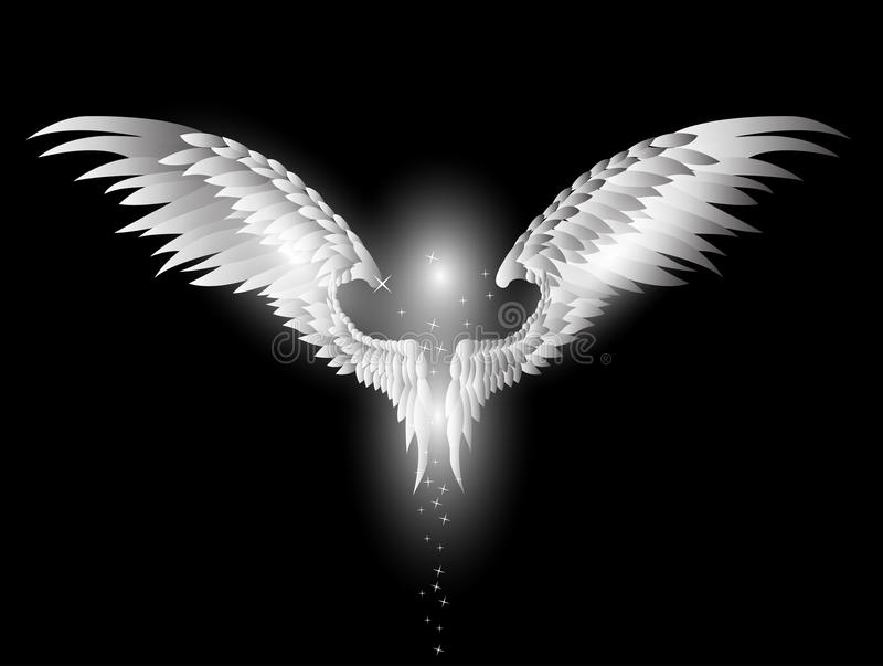 Schönheitsengelsflügel auf dunklem Hintergrund stock abbildung