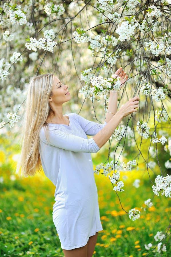 Schönheitsfrühlings-Mädchenporträt über blühendem Baum mit Blumen stockfoto