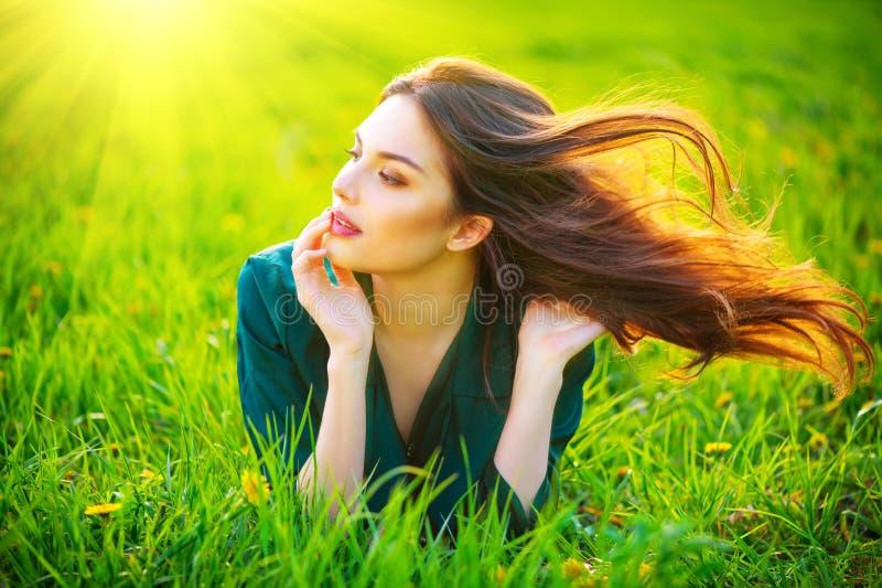 Schönheitsfrau, die auf dem Feld genießt Natur liegt Schönes Brunettemädchen mit dem gesunden langen Fliegenhaar stockbild