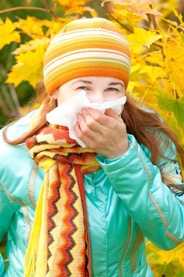 Schönheitsfrau im Herbst stockbilder