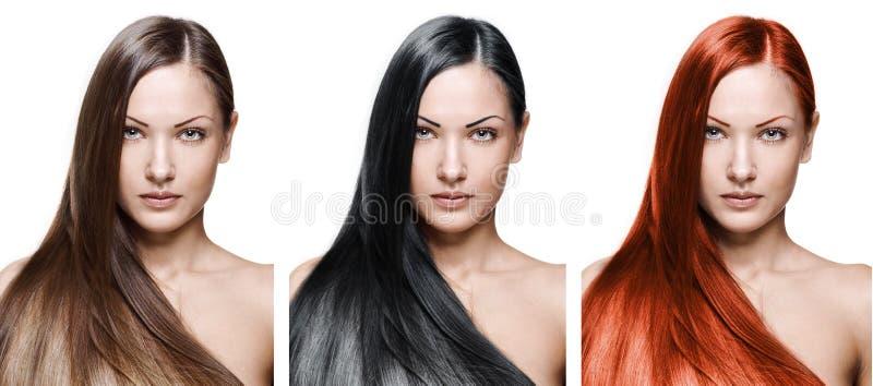 Schönheitsfrau. langes Haar stockbilder