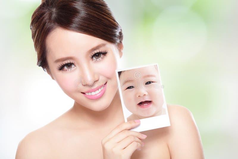 Schönheitsfrau mit perfekter Haut mögen Baby lizenzfreie stockbilder