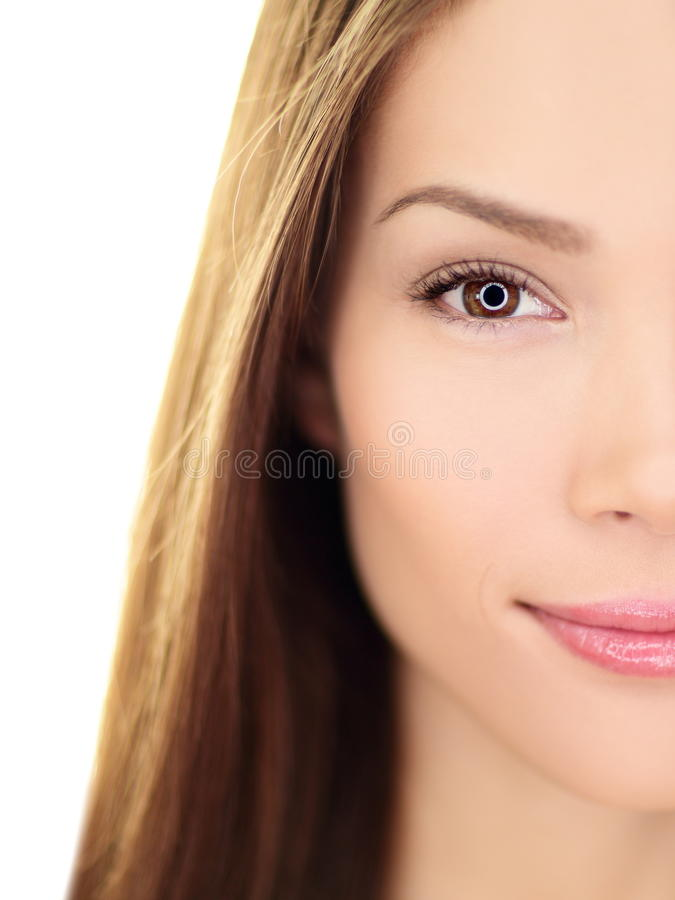 Schönheitsfrau - perfekte Hautpflegenahaufnahme stockfotos