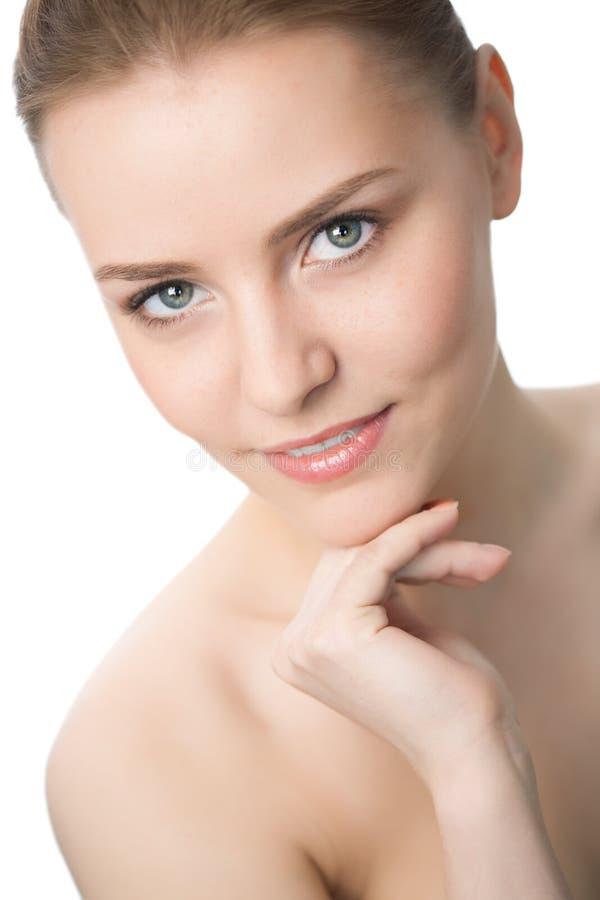 Schönheitsfrauen-Nahaufnahmegesicht lizenzfreies stockfoto