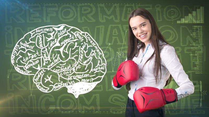 Schönheitsgeschäftsfrau auf gemaltem Hintergrund mit Marketing-Wörtern Werbung, Investition und Unternehmensplankonzept lizenzfreie stockfotografie