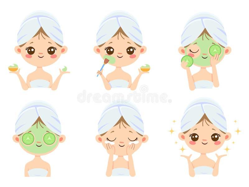 SchönheitsGesichtsmaske Frauenhautpflege, Reinigung und Gesichtsbürsten Aknebehandlungsmaskenvektor-Karikaturillustration stock abbildung