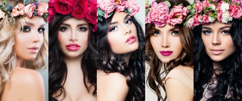 Schönheitsgesichtssatz Bunte Blumen, Make-up und langes gelocktes Haar Helle bunte Porträts der Blütenschönheit stockbilder