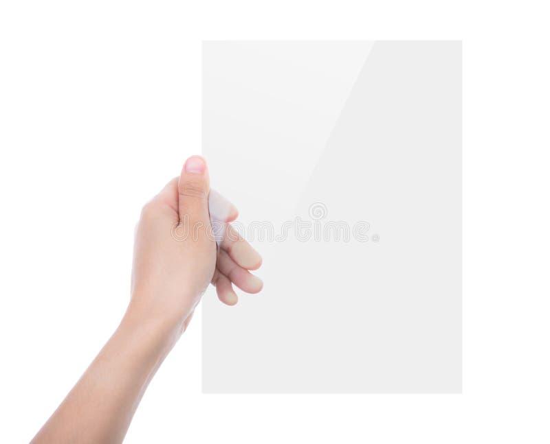 Schönheitshand, die transparentes weißes Gerät lokalisiert hält stockbild