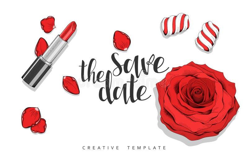 Schönheitshintergrund mit Rosen, Blumenblätter, Bonbons Stilvolle Schablone im Rot stockbilder
