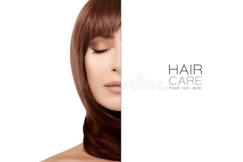 Schönheitskonzept der Haarpflege mit schöner Brunettefrau lizenzfreie stockbilder