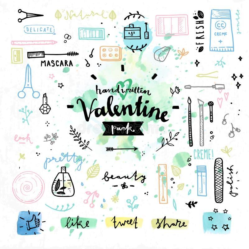 Schönheitskosmetik Valentinsgrußtagesvektorgrafik stock abbildung
