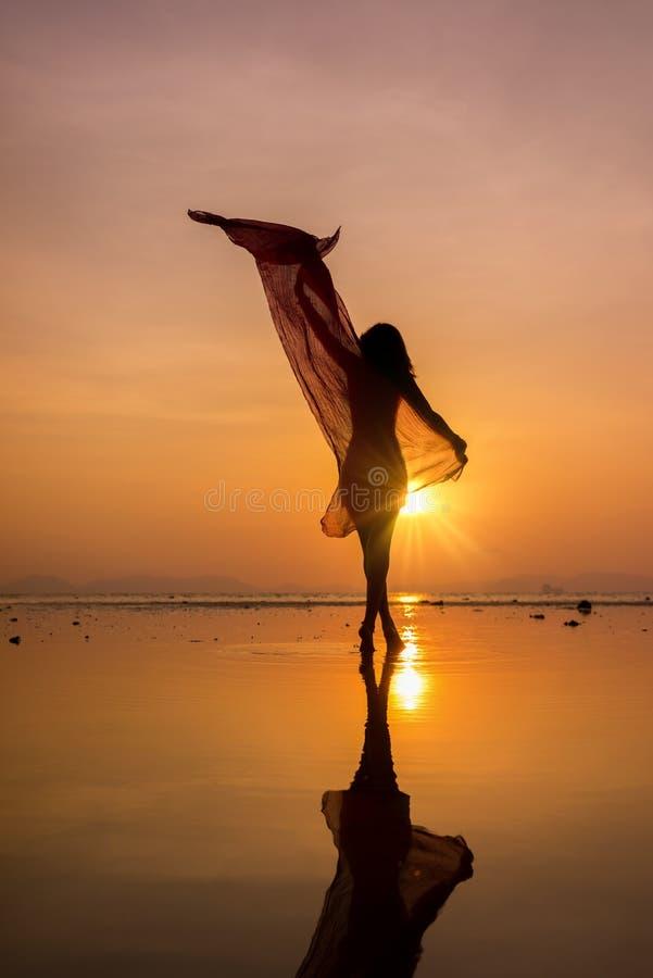Schönheitsmädchen auf Strand mit pareo Schal stockfotografie